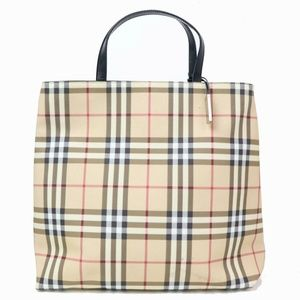 Auth Burberry Tote Bag Cream #1454B17B